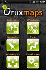 Oruxmaps Hauptmenü