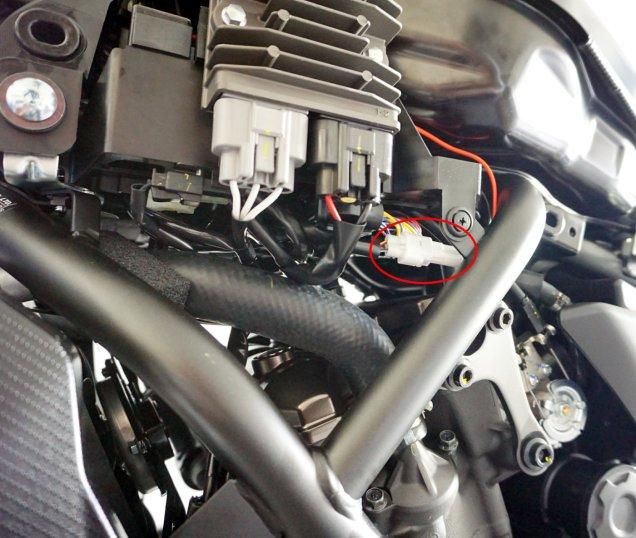 Yamaha MT-07 Nebenverbraucheranschluß mit Bordnetzsteckdose verkabelt