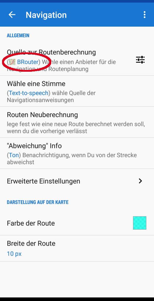 Locus Map Pro Einstellung Brouter als Offline-Routenquelle