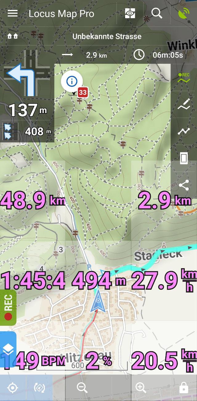 Datarecording am Fahrrad - Locus Map Pro