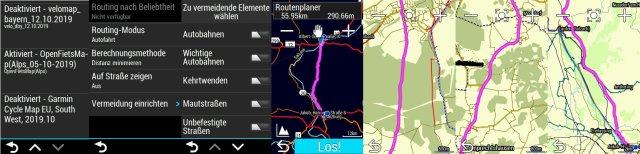 Openfietsmap: Testroute am Edge Explore Navi
