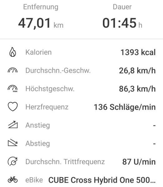 Ebike Connect App Screenshot Fahrtstatistik