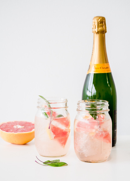 grapefruit and sage champagne fall cocktail