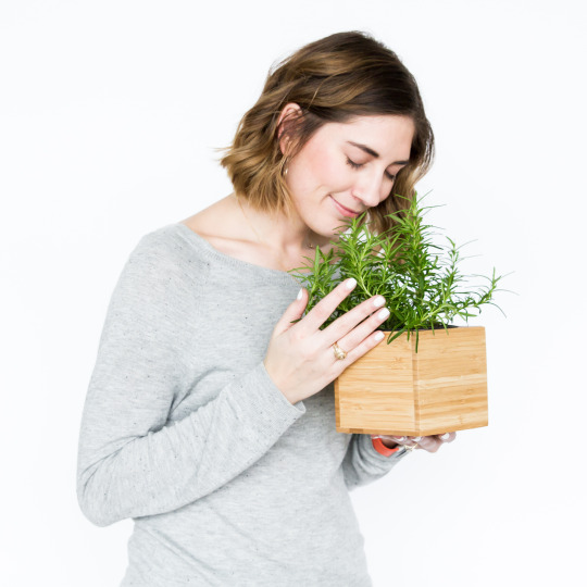smelling herbs