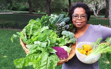 Oprah Holding Homegrown Veggies