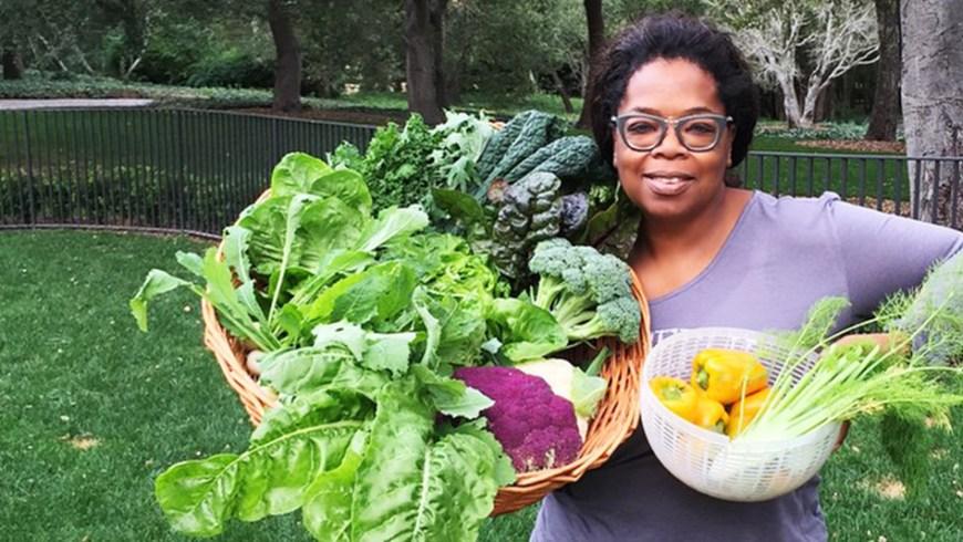 Oprah Holding Homegrown Veggies