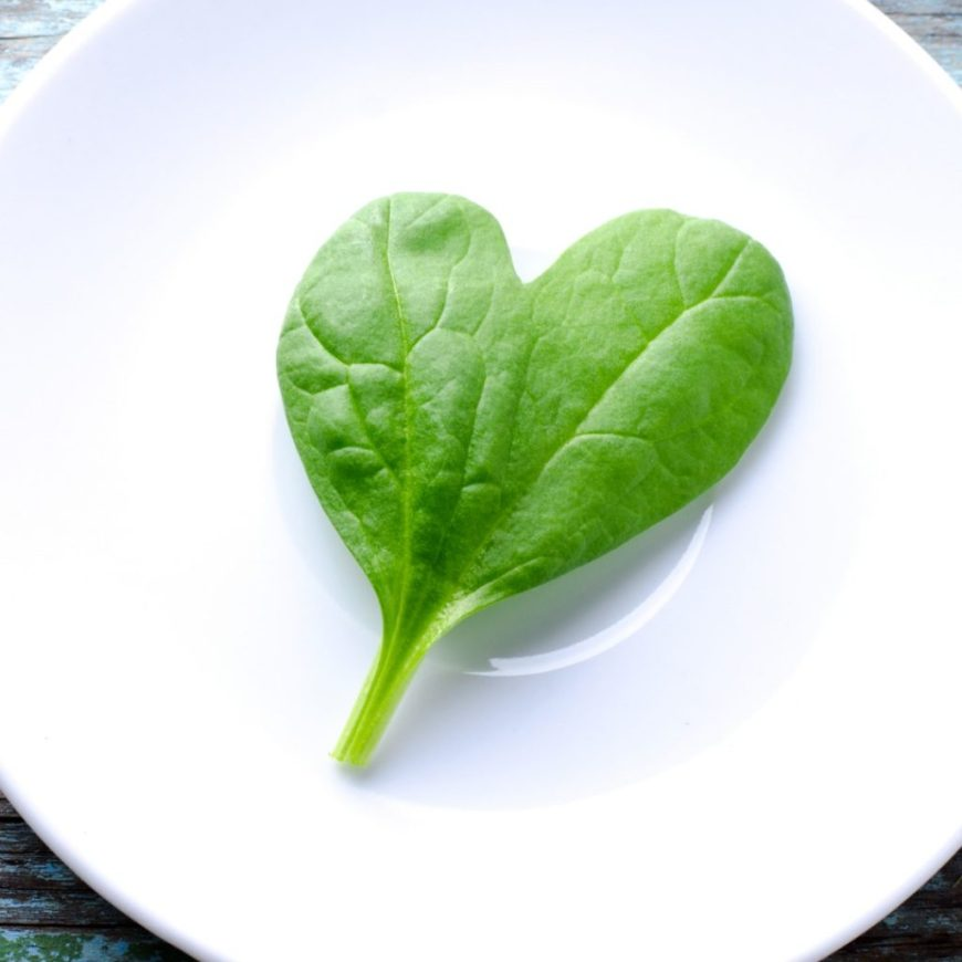 one heart-shaped spinach leaf with health benefits