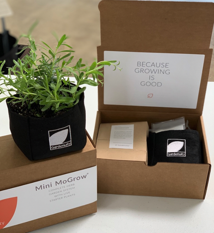 small container garden with packaging