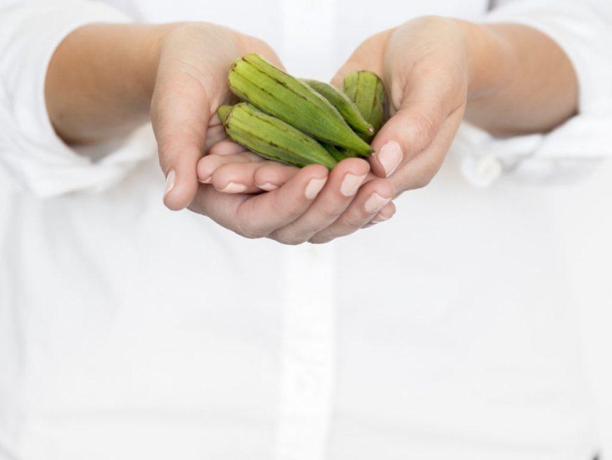 holding okra