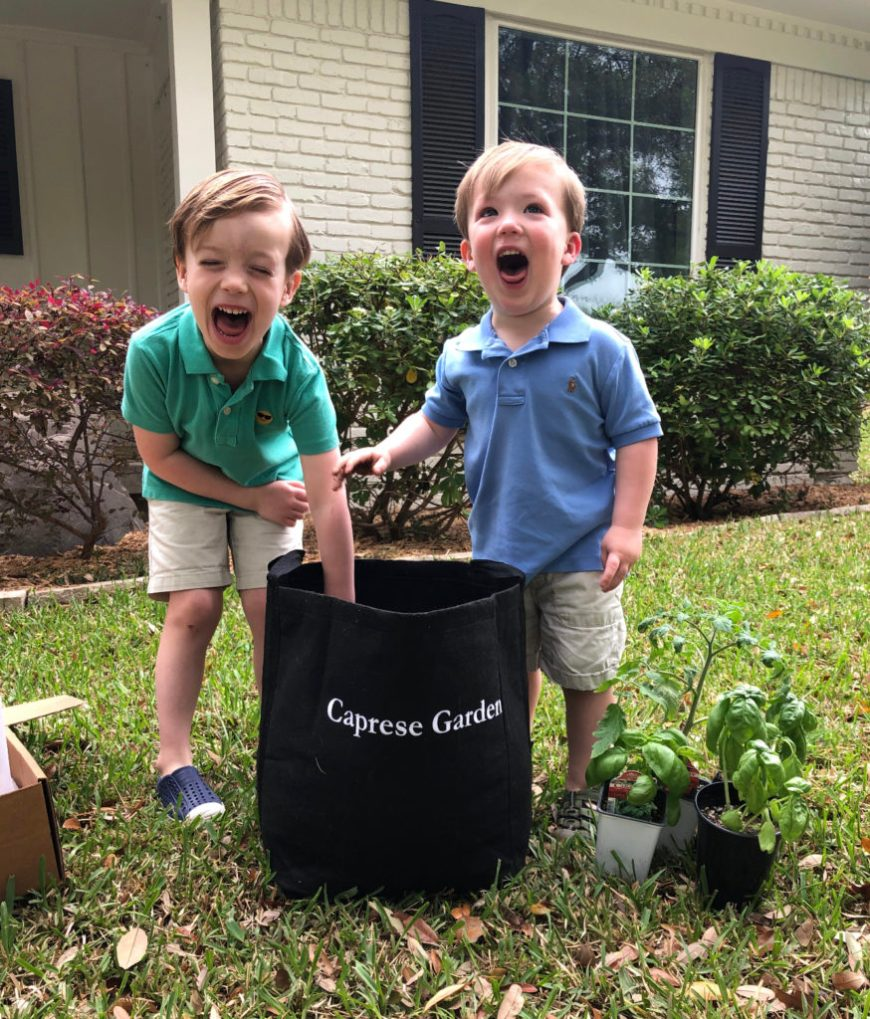 Two Boys Building a Gardenuity Garden Kit as an Earth Day Homeschool Activity