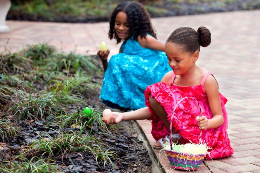 Girls Hunting for Easter Eggs
