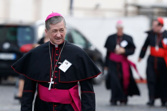 Archbishop Blase J. Cupich of Chicago arrives for a session of the Synod of Bishops on the family at the Vatican Oct. 14. (CNS photo/Paul Haring) See SYNOD-SECOND-REPORTS Oct. 14, 2015.