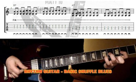 HOW TO PLAY Beginner Blues Shuffle Rhythm GUITAR LESSON with TAB