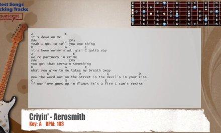 Criyin' – Aerosmith Guitar Backing Track with chords and lyrics