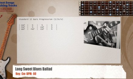 Long Sweet Blues Ballad In Cm Guitar Backing Track with chords and lyrics