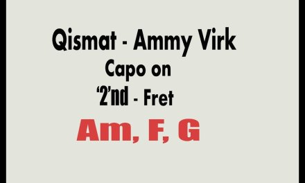 Qismat Ammy Virk  | Guitar Chords with Capo and without Capo | Punjabi song 2017 | Guitar version