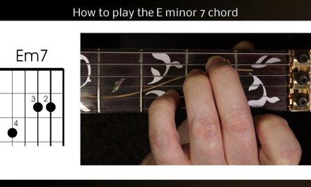 Left Handed guitar lesson, how to play Em7.  E minor 7 guitar chord