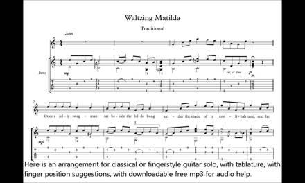 Waltzing Matilda classical guitar score