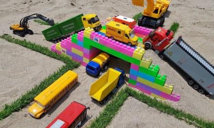 Car toy videos for kids & baby   Building bridge with cars, dump truck, excavator   Bi Bi Kids