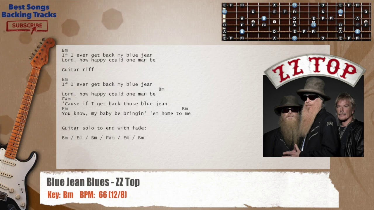 Blue Jean Blues Zz Top Guitar Backing Track With Chords And Lyrics