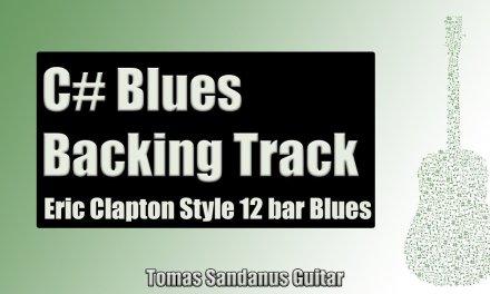 Eric Clapton Style 12 bar Blues Shuffle   Guitar Backing Track Jam in C#