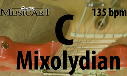 C Mixolydian guitar backing track, Rock style, 135bpm