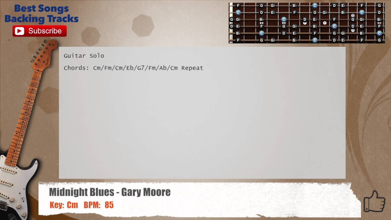 Midnight Blues Gary Moore Guitar Backing Track With Chords And