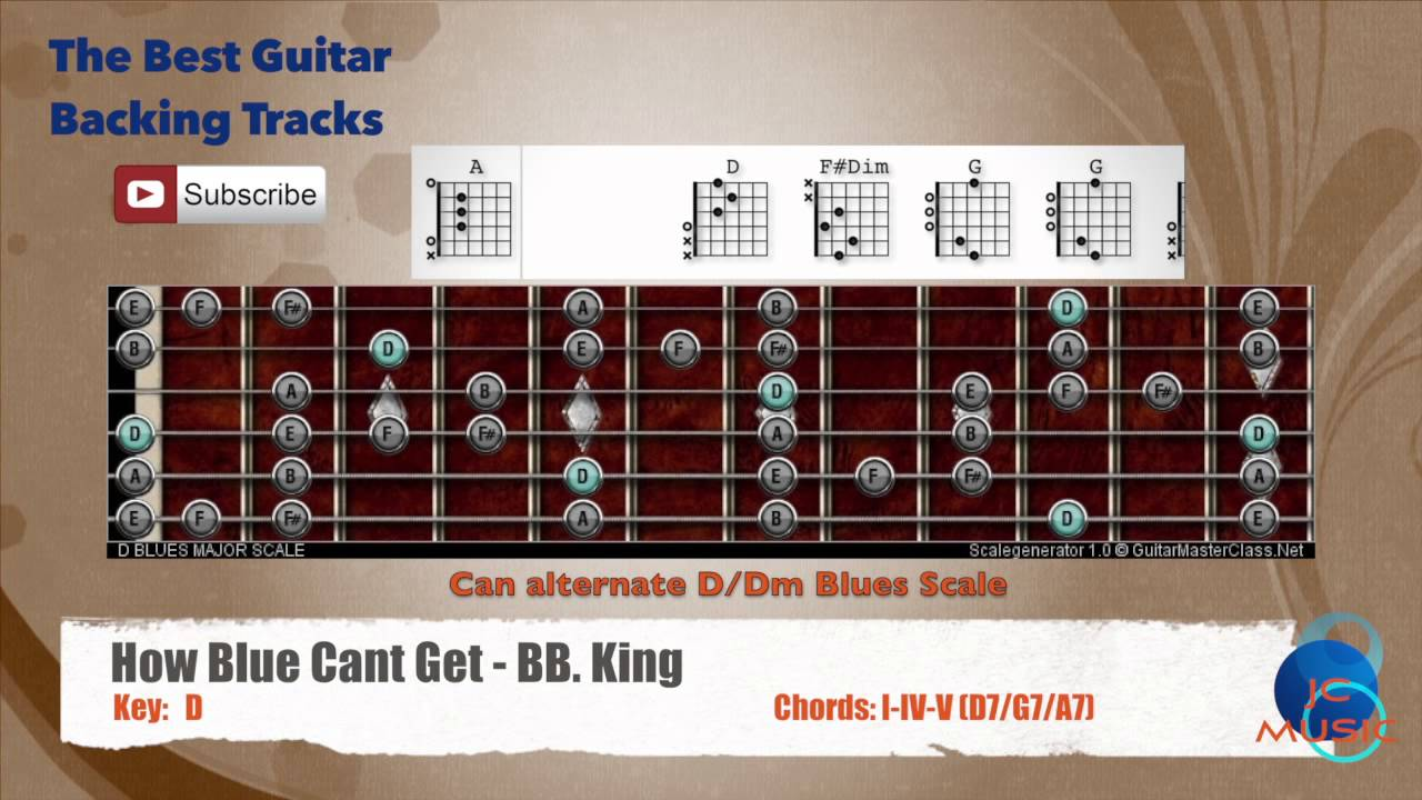 How Blue Can Get Bb King Guitar Backing Track With Scale Chart And