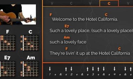 Hotel California – The Eagles – Play Along / Guitar Karaoke (Easy Chords)