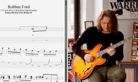 Robben Ford – V-IV lick from 12-Bar Blues Improvisation – Best lick (animated tab – Fast & slow)
