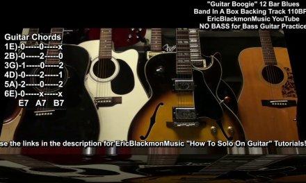 GUITAR BOOGIE Bassless 12 Bar Blues 110bpm Band In A Box Backing Track + Chord Tabs E Major