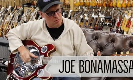 Norm presents Joe Bonamassa with a Vincent Bell Guitar at Norman's Rare Guitars