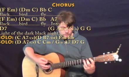 Blackbird (The Beatles) Strum Guitar Lesson Chord Chart
