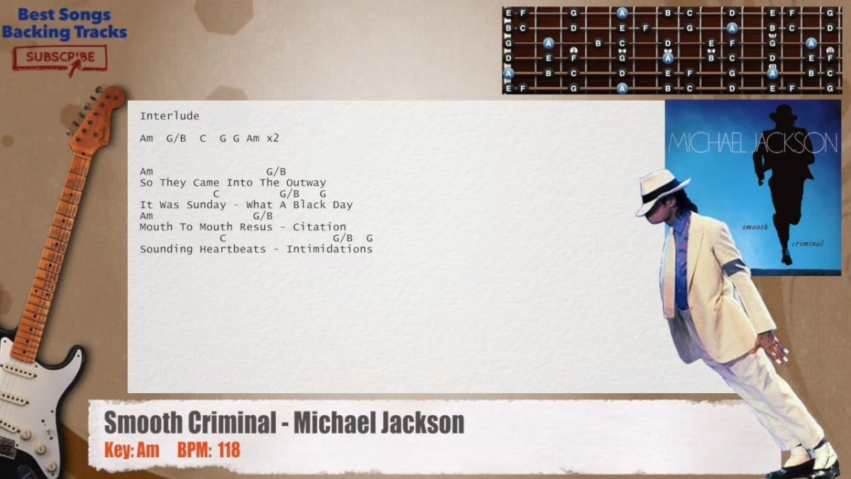 Smooth Criminal Michael Jackson Guitar Backing Track With Chords