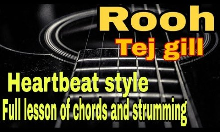 Rooh-Tej Gill-Full guitar lesson with heartbeat style..chords+strum+intro