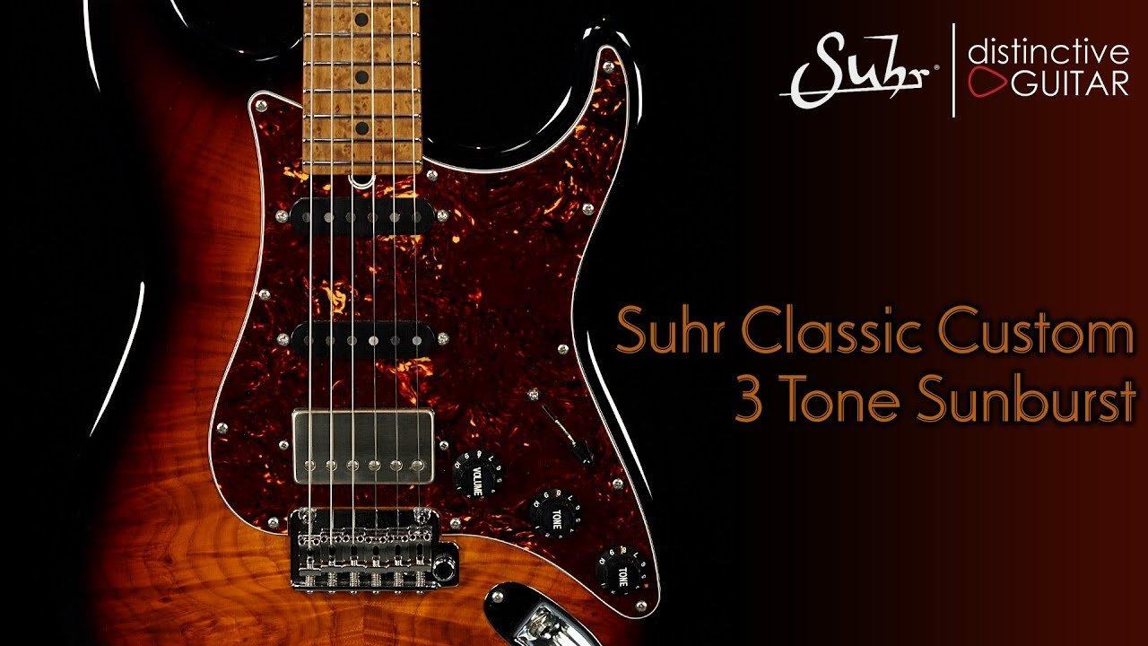Suhr Classic Custom Guitar | 3 Tone Sunburst Waterfall Burl