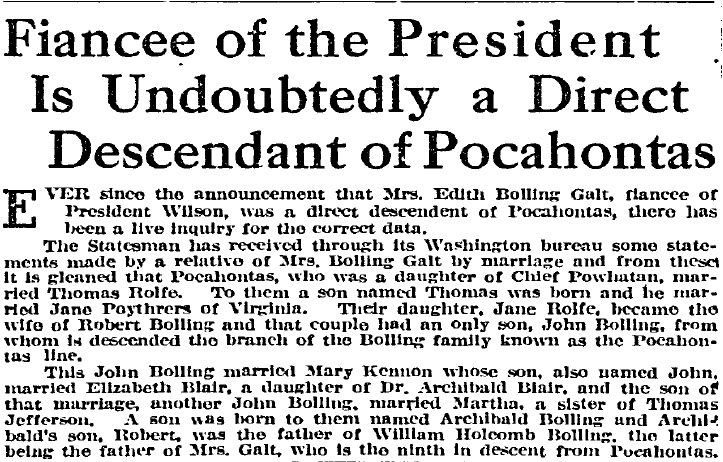 Fiancee of the President Is Undoubtedly a Direct Descendant of Pocahontas, Idaho Statesman newspaper article 14 November 1915