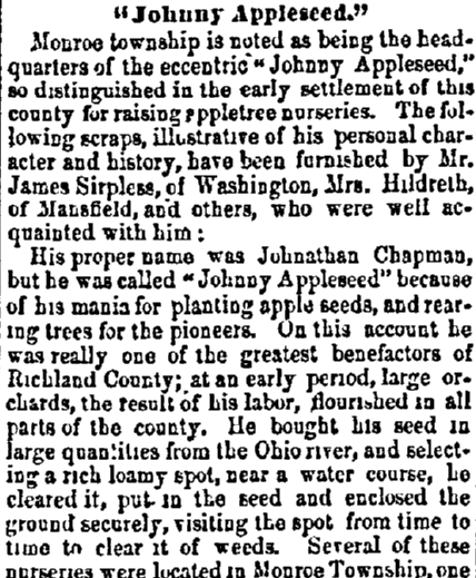 Are You Related to John Chapman, a.k.a. Johnny Appleseed?