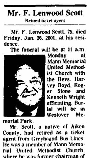 obituary for F. Lenwood Scott, Augusta Chronicle newspaper article 28 January 2001