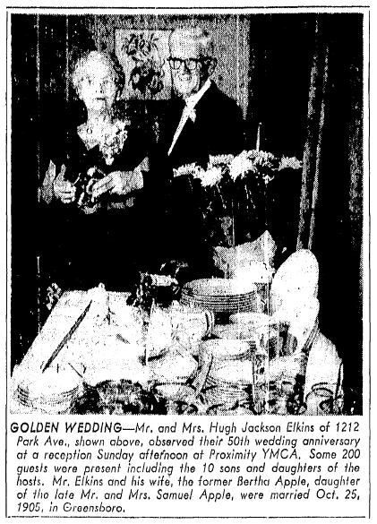 article about the Elkins' 50th wedding anniversary, Greensboro Record newspaper article 25 October 1955