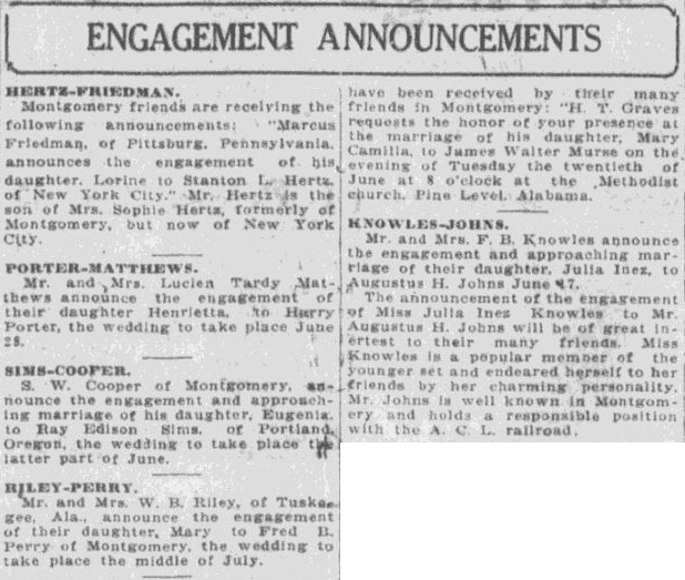 Engagement Announcements, Montgomery Advertiser newspaper article 4 June 1922