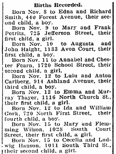 birth notices, Republic newspaper article 5 January 1909