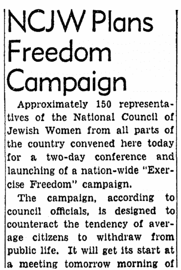 For Women's History Month: The National Council of Jewish