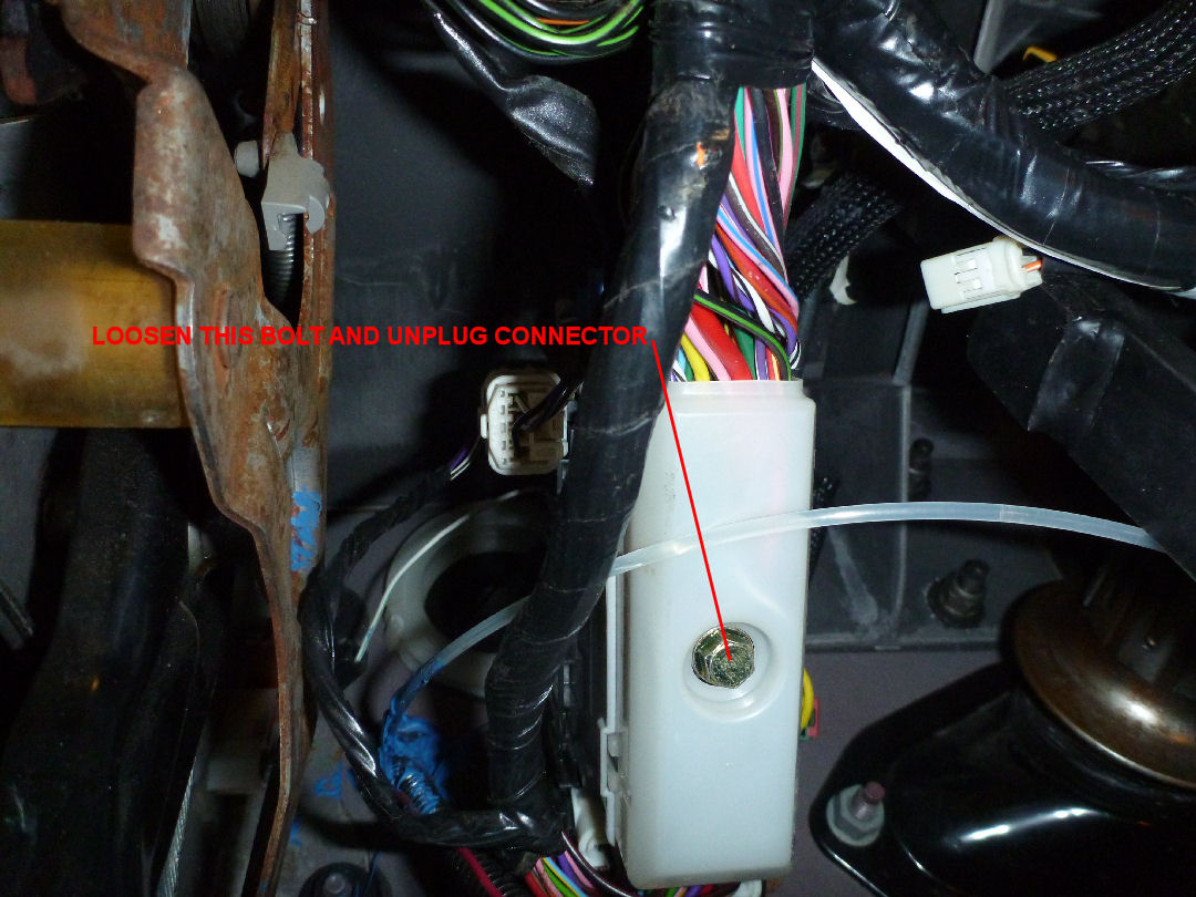 hight resolution of loosen the two bolts on either side of the instrument panel that bolt outward into the a pillars the objective here is to let the instrument panel pivot