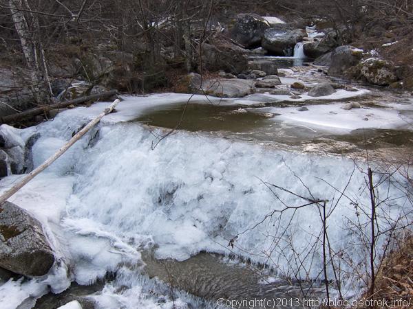 凍った信濃川源流、西沢