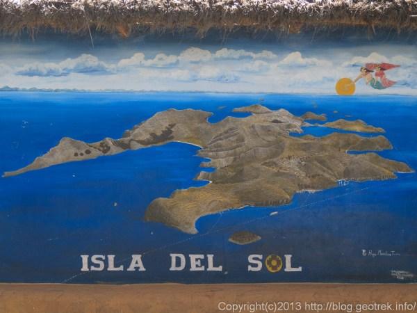 130907ボリビア、ティティカカ湖、太陽の島の地図