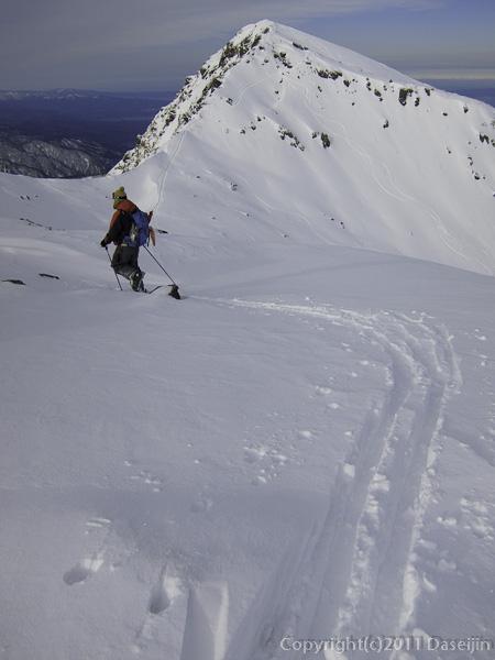111127立山スキー・室堂山から国見岳へのつり尾根