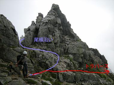110815剱岳北方稜線長次郎の頭トラバース回避ルート