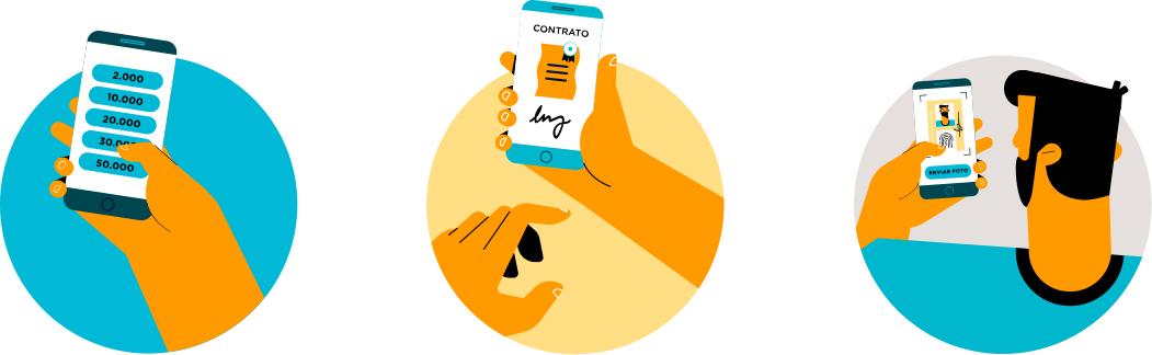 Pessoa visualizando na tela do celular os passos do empréstimo fácil online