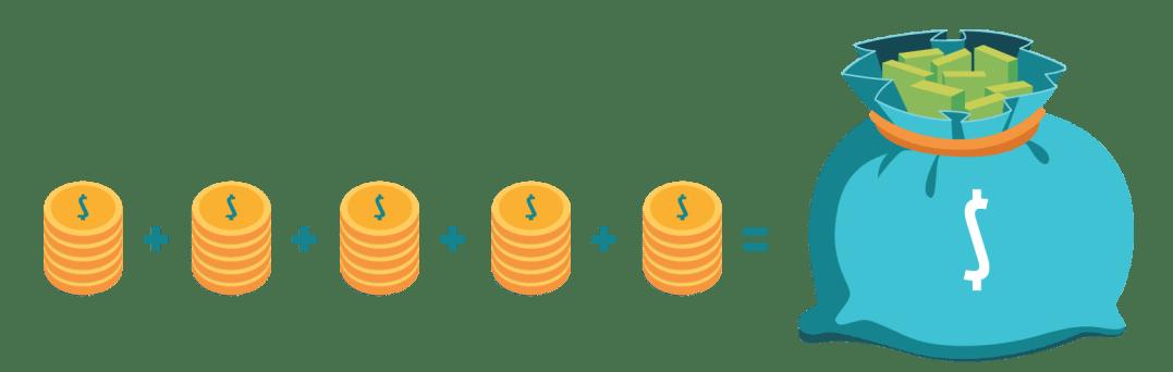 Saco de dinheiro e moedas se somando ao fato de fazer empréstimo online